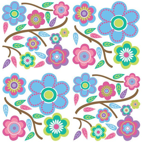 Cutsie Blooms Wall Art Sticker Kit
