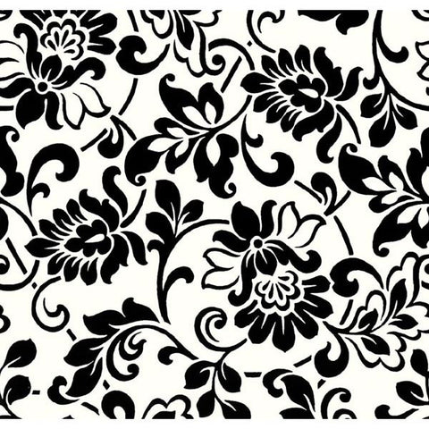 Black and White Damask Peel And Stick Liner