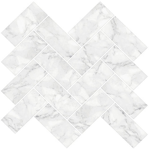 Herringbone Carrera Peel & Stick Backsplash Tiles