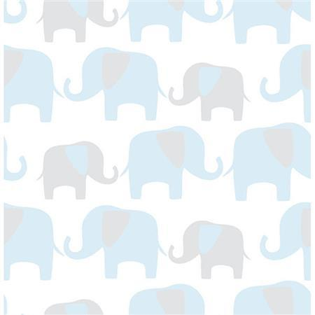 Blue Elephant Parade Peel And Stick Wallpaper