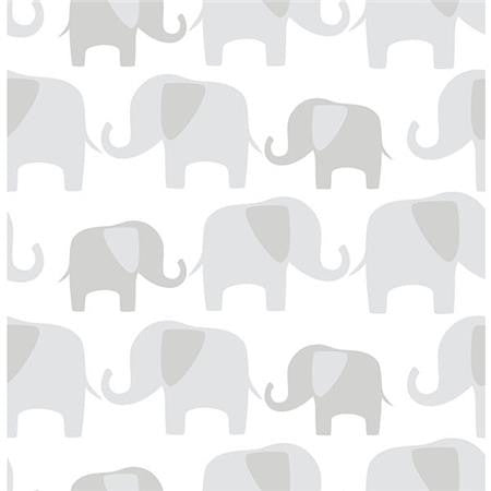 Gray Elephant Parade Peel And Stick Wallpaper