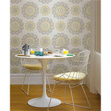 Grey and Yellow Suzani Peel And Stick Wallpaper
