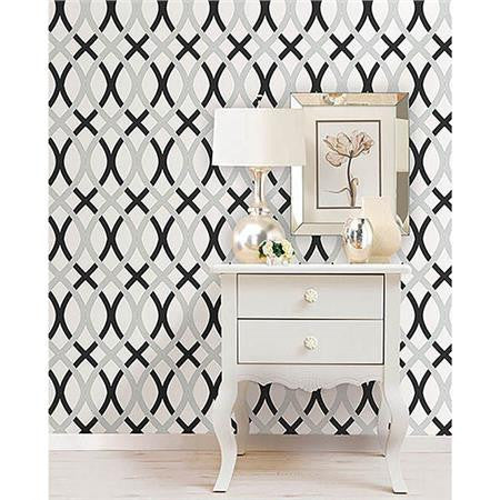Black and Silver Lattice Peel And Stick Wallpaper