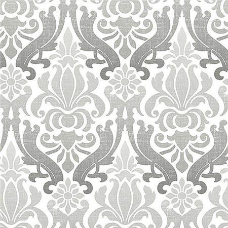 Grey Nouveau Damask Peel And Stick Wallpaper