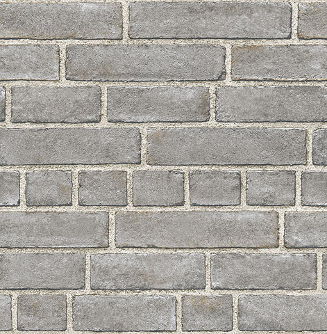 Grey Brick Facade Peel and Stick Wallpaper