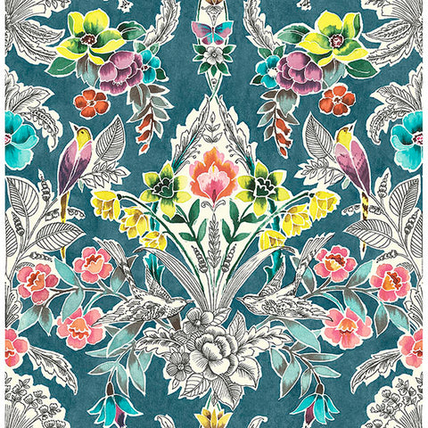 Summer Love – Teal Peel and Stick Wallpaper
