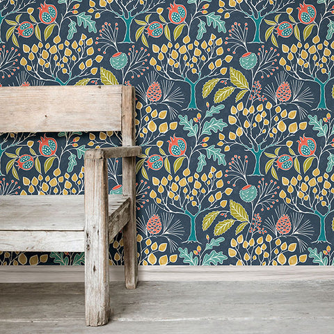 Groovy Garden Navy Peel And Stick Wallpaper Wallpops Uk