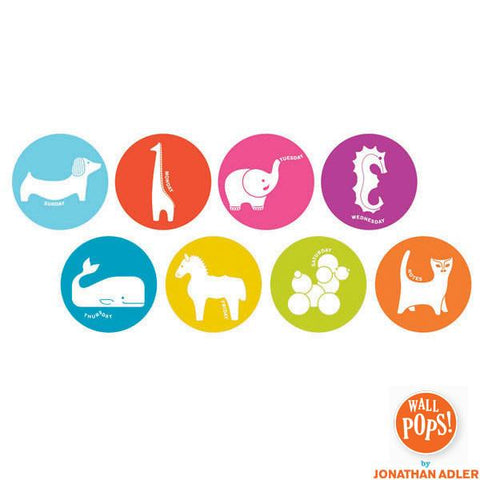 Menagerie Dry Erase Weekly Wall Dot Stickers