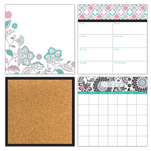 Floral Medley Dry Erase Organization Wall Stickers Kit