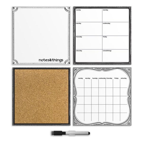 White Dry Erase Organization Wall Stickers Kit