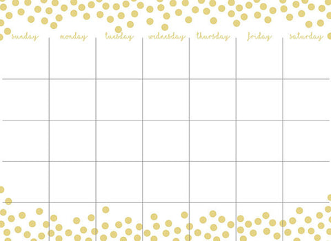 Gold Confetti Monthly Calendar and Message Board Combo