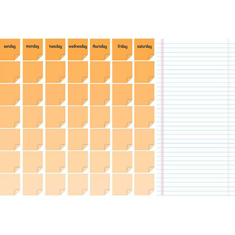 Dry Erase Monthly Calendar/Message Board - Ricky Orange