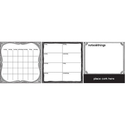 Dry Erase 3 Piece Set - Black & White