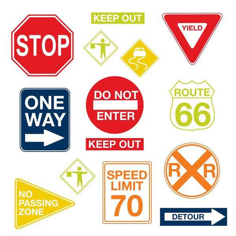 Road Signs Wall Art Sticker Kit