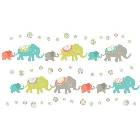Tag Along Elephants Wall Art Sticker Kit