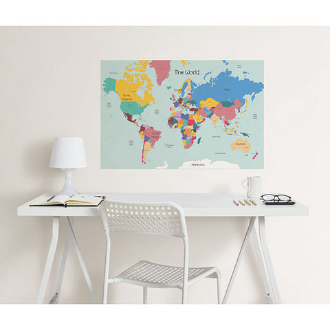 World Map Colouring Wall Decal