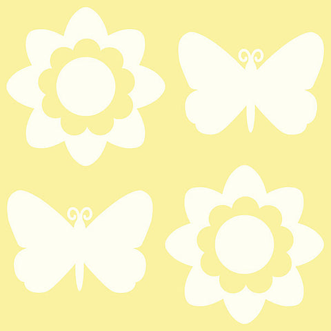 Butterfly and Flower Silhouettes - Ivory White