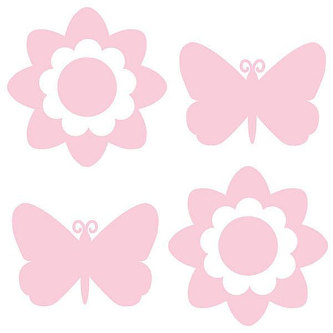 Butterfly and Flower Silhouettes - GiGi Pink
