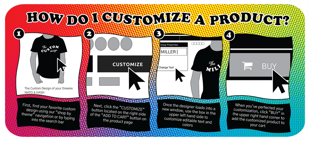 "Mato & Hash product customization instructions for web; 1. First, find your favorite custom design using our ""shop by theme"" navigation or by typing into the search bar. 2. Next, click the ""CUSTOMIZE"" button located on the right side of the ""ADD TO CART"" button on the product page.  3. Once the designer loads into a new window, use the box in the upper left hand side to customize editable text and colors.  4. When you've perfected your customization, click ""BUY"" in the upper right hand corner to add the customized product to your cart"