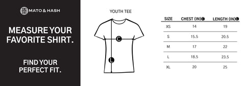 Mato & Hash M200Y Sizing Chart Youth T-Shirt