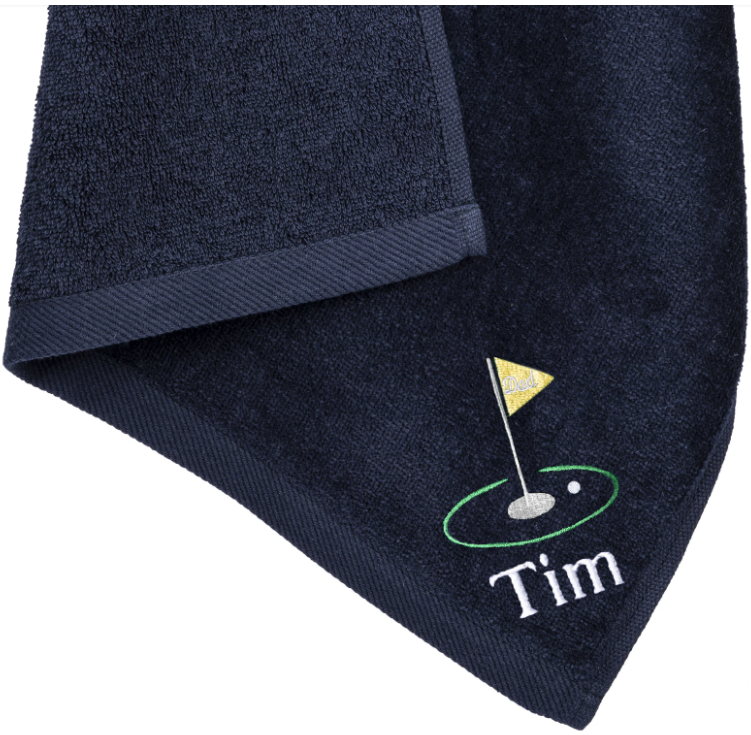 Mato & Hash Personalized Golf Towel Yellow Flag Dad Design