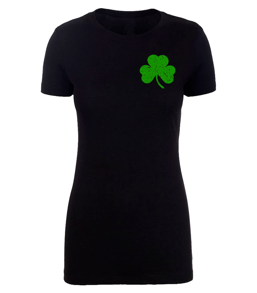 Shirt - Black American Giant Clover T-shirt, St Patrick's Day Party Tee Shirts For Women