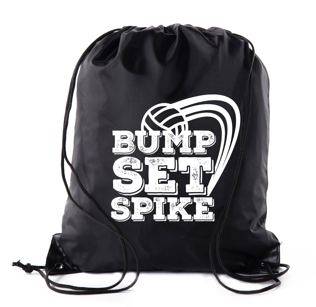 Bump Set Spike Volleyball Polyester Drawstring Backpack