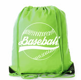 Ball with Classic Logo Text Polyester Drawstring Bag