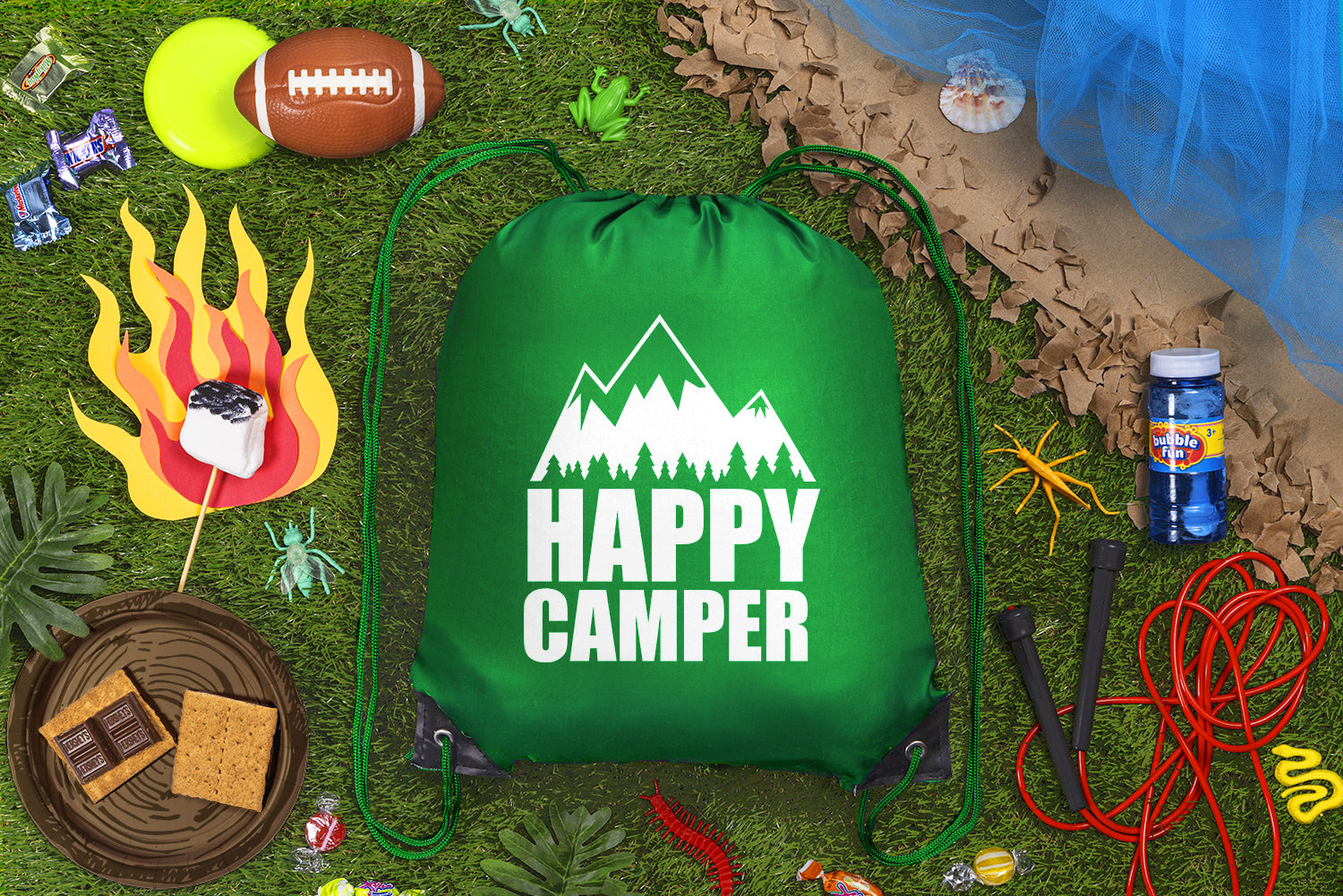 Happy Camper - Mountains + Tree Line Polyester Drawstring Bag