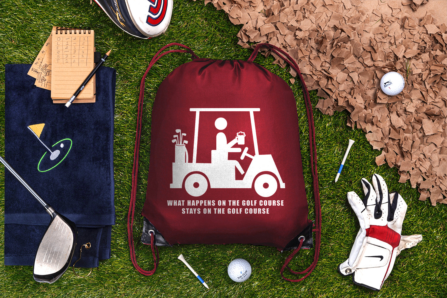 What Happens on the Course, Stays on the Course Polyester Drawstring Bag