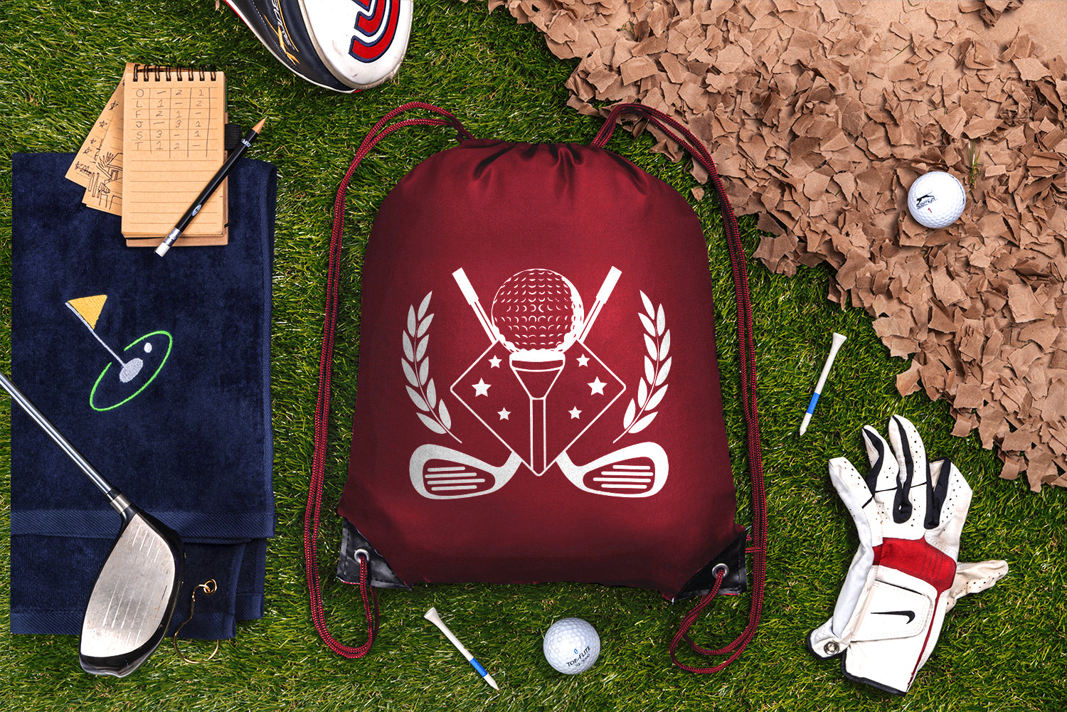 Teed Up With Crossed Clubs and Stars Polyester Drawstring Bag