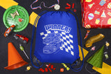 Winner! Race Cars + Checkered Flag Polyester Drawstring Bag