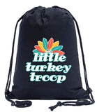 Little Turkey Troop - Multicolor Feathers Cotton Drawstring Bag