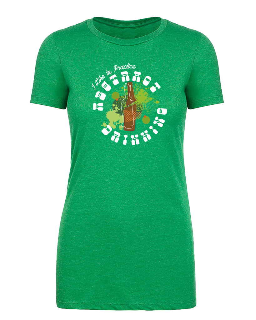 I Like to Practice Abstract Drinking Funny St Patrick's Day Women's Shirt