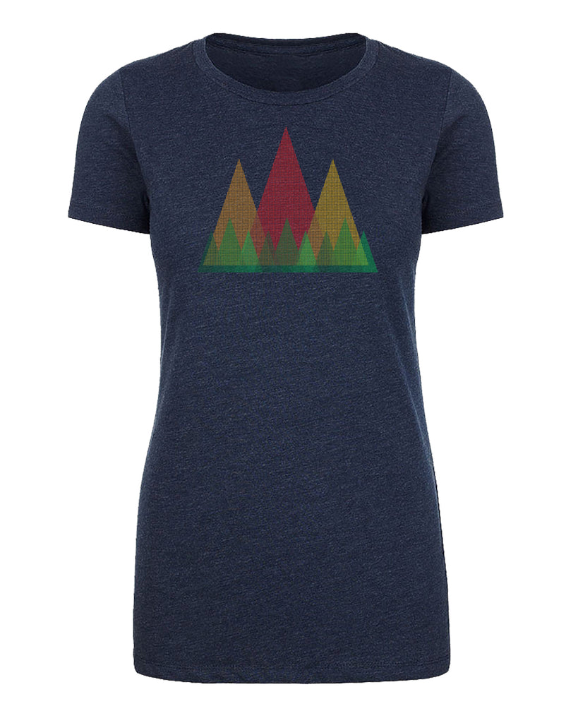 Shirt - Triangle Tree Line With Mountains, Women's Graphic T-shirts, Outdoor Shirts