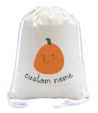 Happy Pumpkin Custom Name Cotton Drawstring Bag