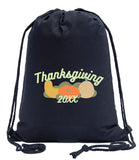 Thanksgiving Gourds Custom Year Cotton Drawstring Bag