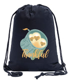 Thankful - Baby Owls in Nest Cotton Drawstring Bag