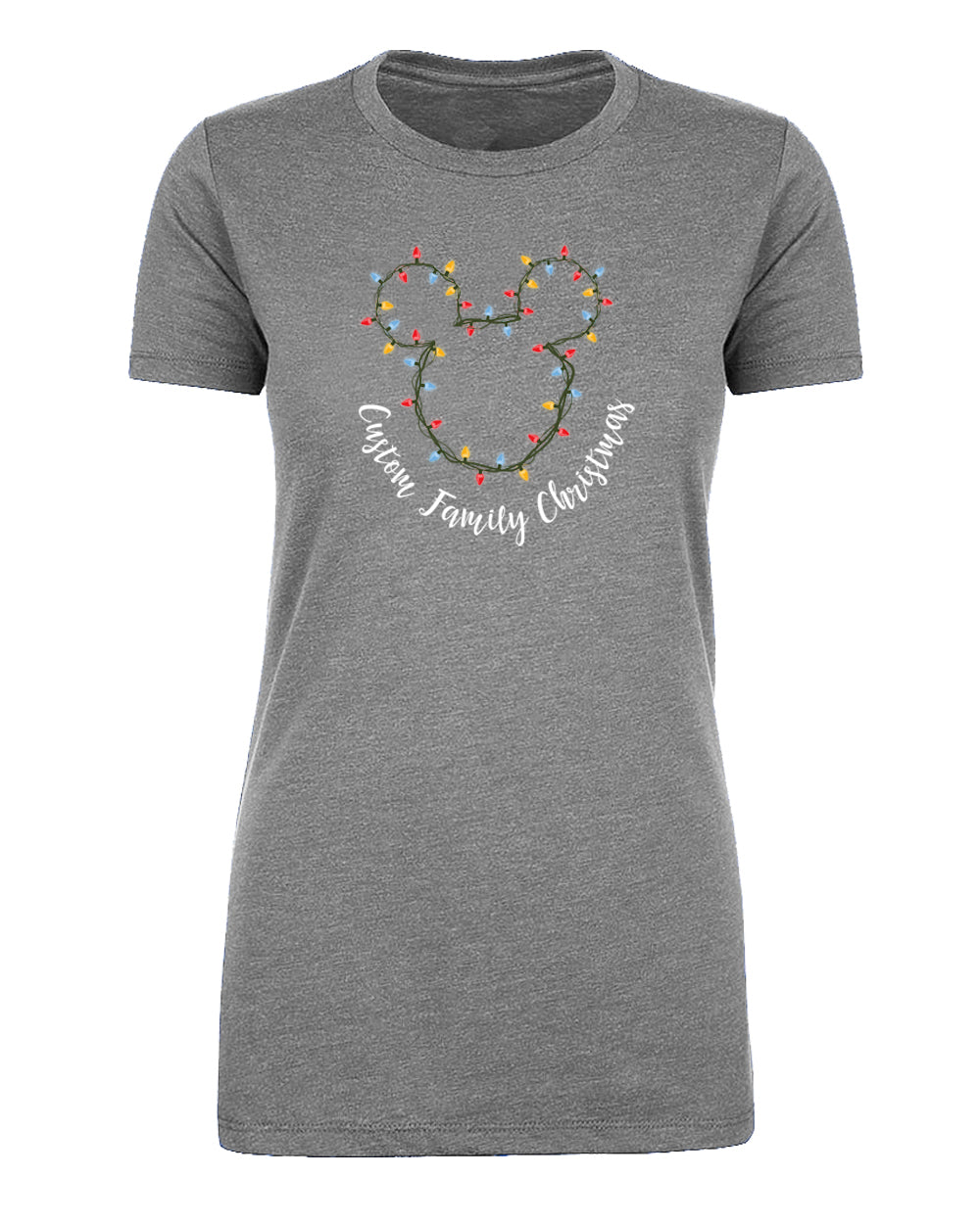 Mouse Head + Holiday Lights Custom Family Christmas Womens T Shirts