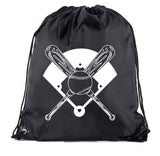 Crossed Bats, Ball and Field Polyester Drawstring Bag