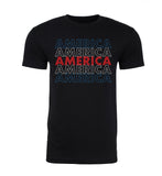 America - Red, White & Blue - Stacked Text - Mens T Shirts