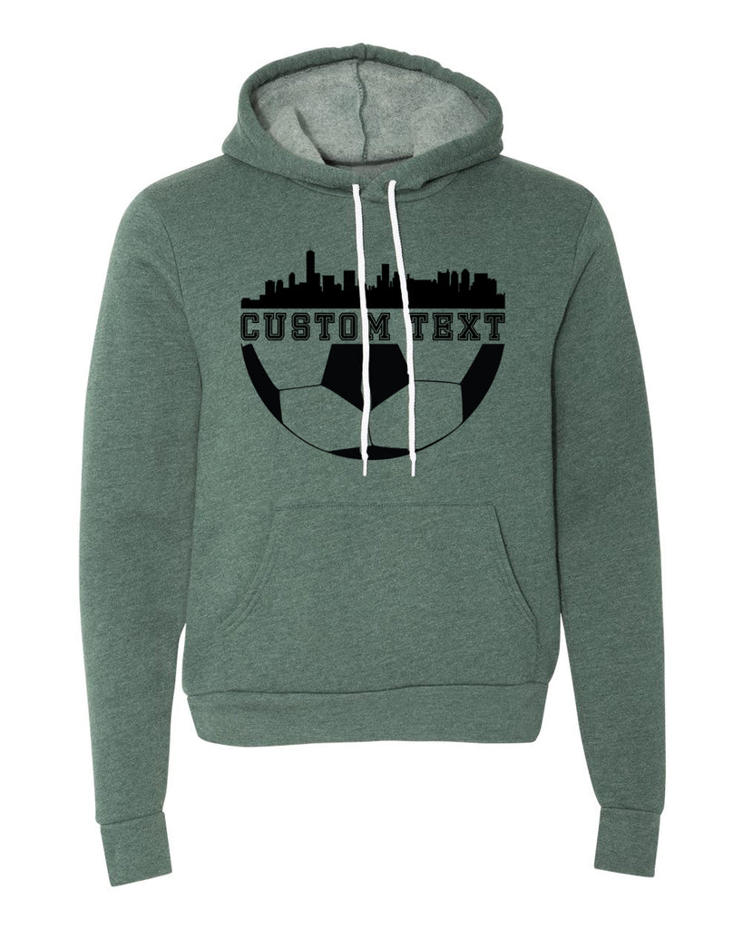 Sweater - Custom Soccer Hoodie With City Skyline, Cool Soccer Sweatshirts