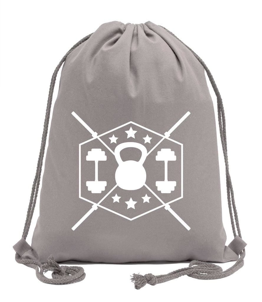 Weights Fitness Cotton Drawstring Backpack