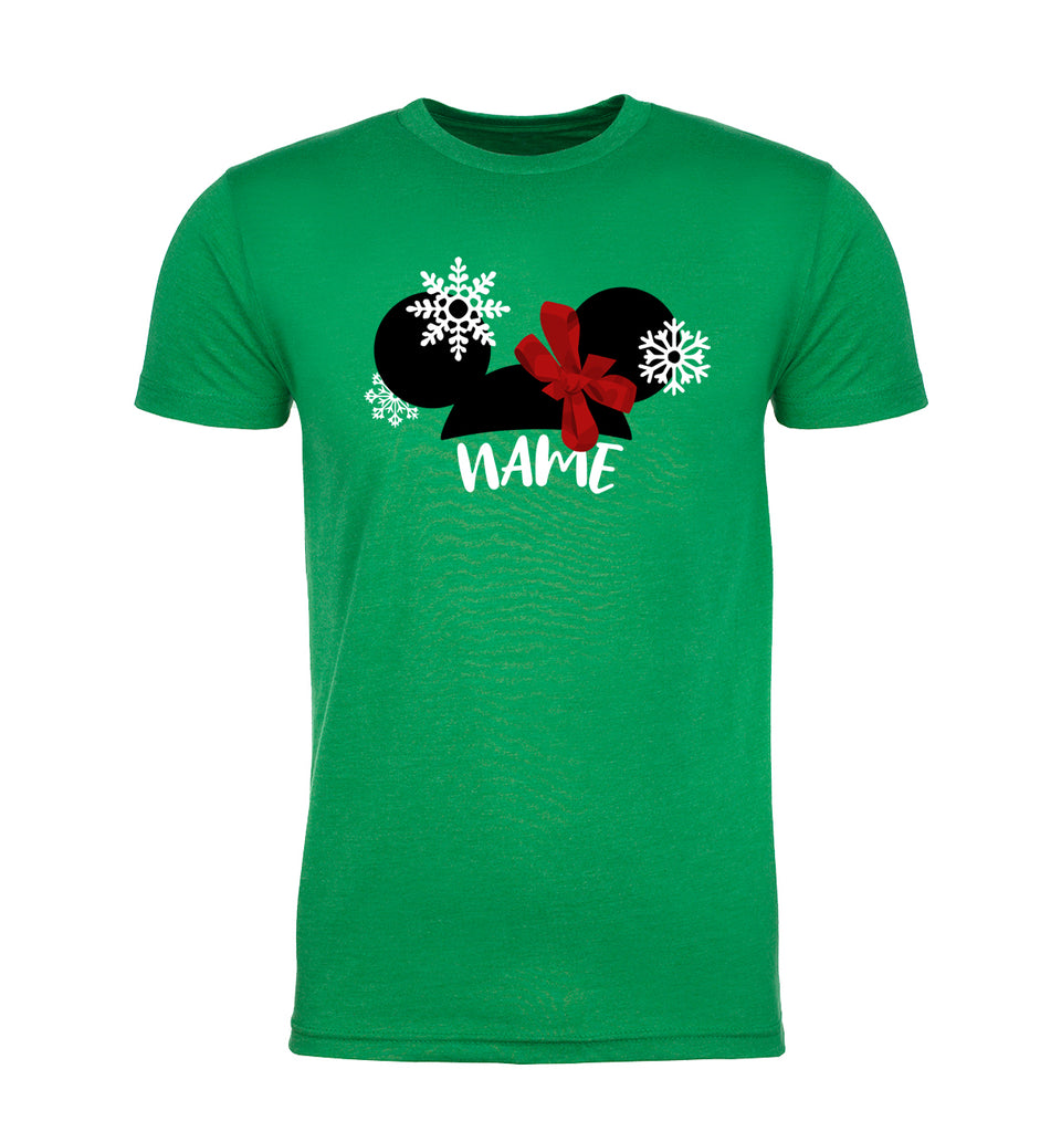 Mouse Girl Ears with Snowflakes Custom Name Christmas Men's T-Shirt