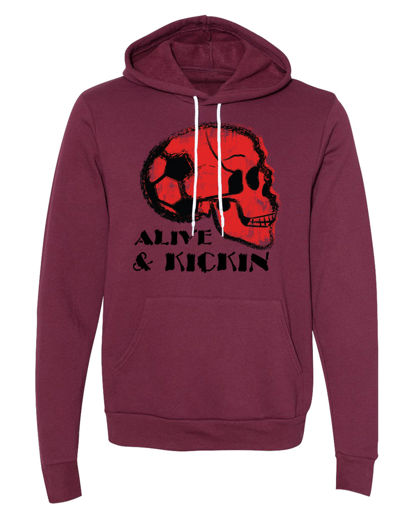 Sweater - Soccer Skull Alive And Kickin Graphic Soccer Sweatshirt, Soccer Hoodie
