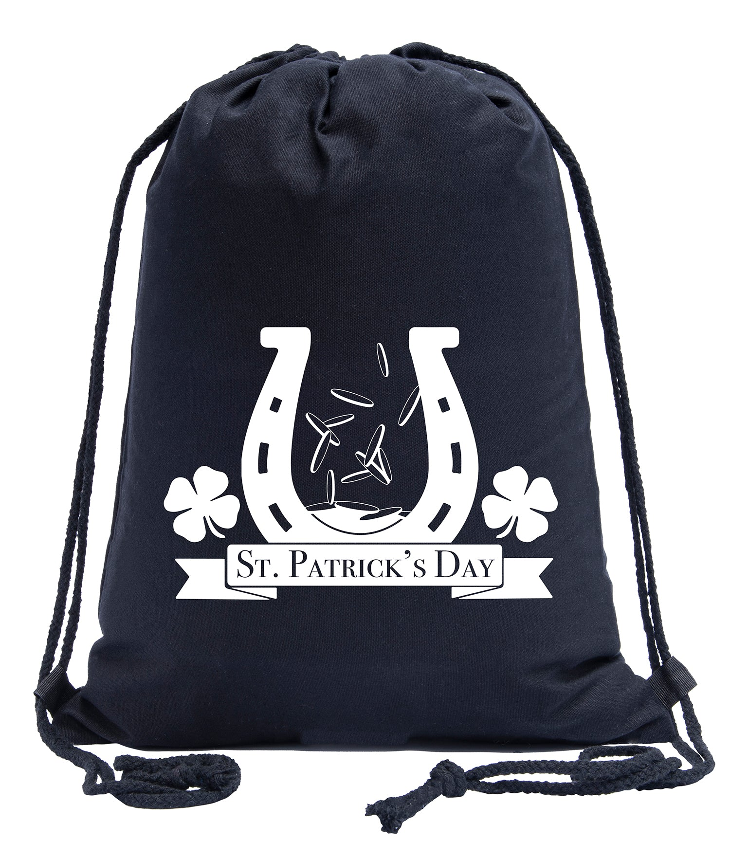 Horseshoe, Coins and Shamrocks Cotton Drawstring Bag