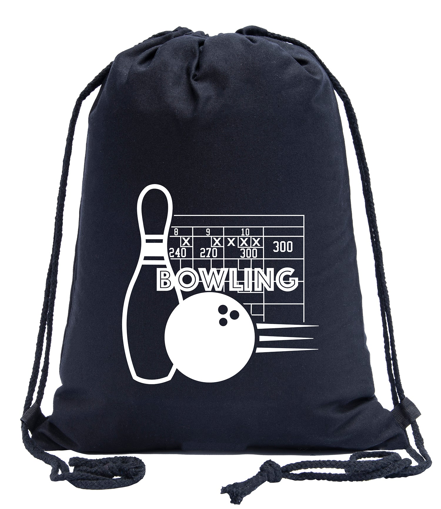 Perfect Score Bowling Frames Cotton Drawstring Backpack
