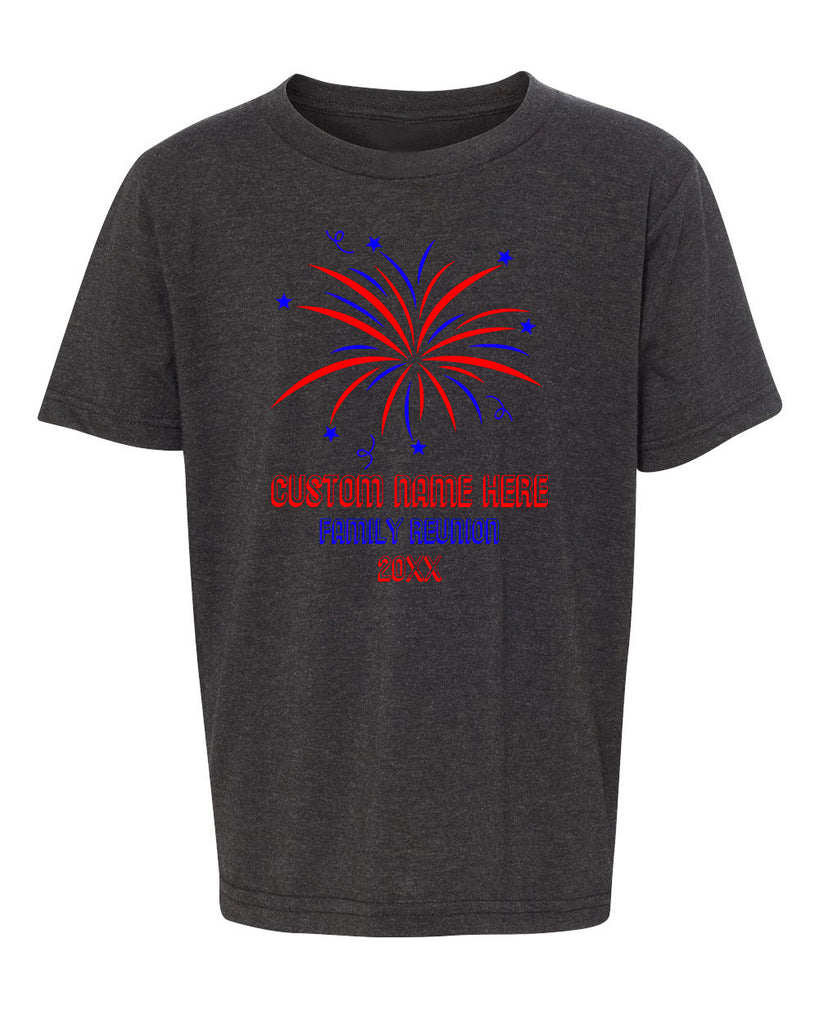 Shirt - Fireworks With Custom Name- Family Reunion Youth T-shirts