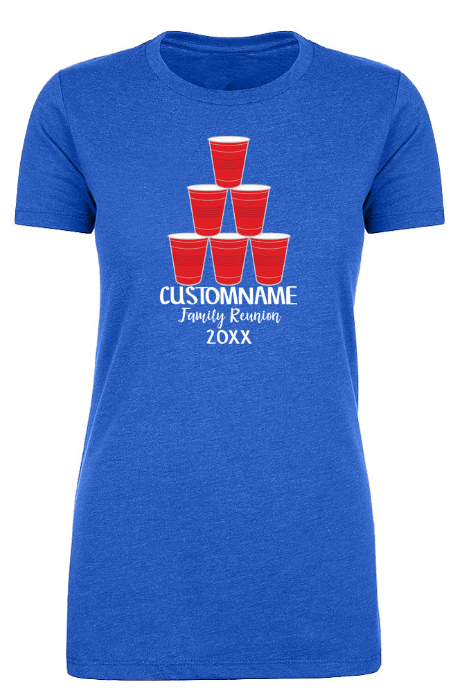 Shirt - Stacked Red Party Cups With Custom Name-Family Reunion Woman's T-shirts