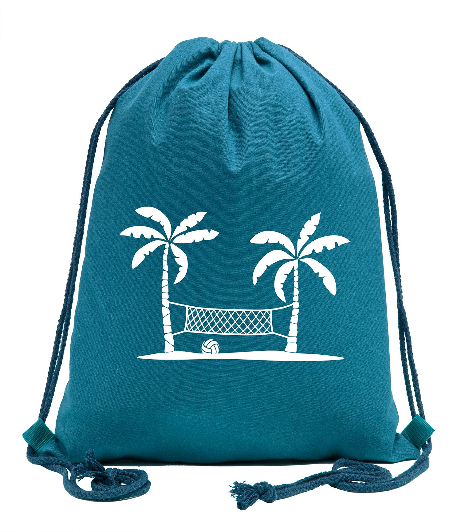 Beach Volleyball Cotton Drawstring Backpack